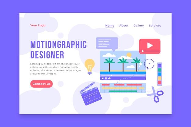 Motiongraphics-startpagina met plat ontwerp