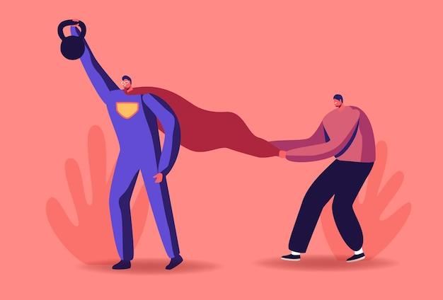 Motivatie en aspiratie illustratie. mannelijk personage in superheld-kostuum zwaar opsteken bob obstakels overwinnen.