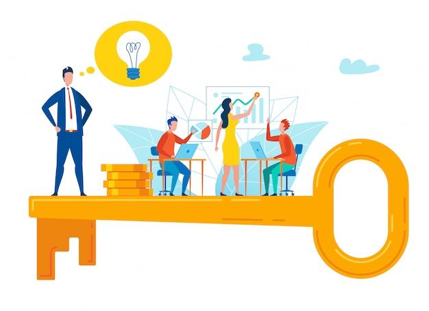 Motivatie flyer sleutel selectie strategie vlak.