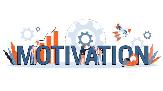 Motivatie horizontale banner voor uw website. idee van opleiding en bedrijfsgroei. bestudeer zelfstudies en word beter. illustratie