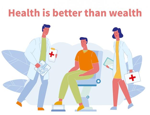 Motivatie poster met arts, verpleegster en patiënt