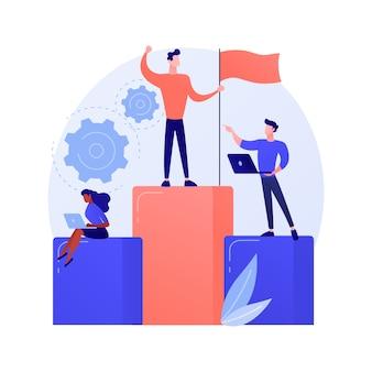 Motivatie van zakelijk leiderschap. bedrijfsbeheer, doelen stellen, succes behalen. ambitieuze baas, topmanager die de prestaties van medewerkers controleert.