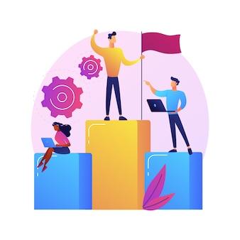 Motivatie van zakelijk leiderschap. bedrijfsbeheer, doelen stellen, succes behalen. ambitieuze baas, topmanager die de prestaties van medewerkers controleert
