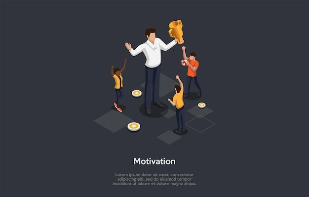 Motivatie, vooruitgang concept illustratie