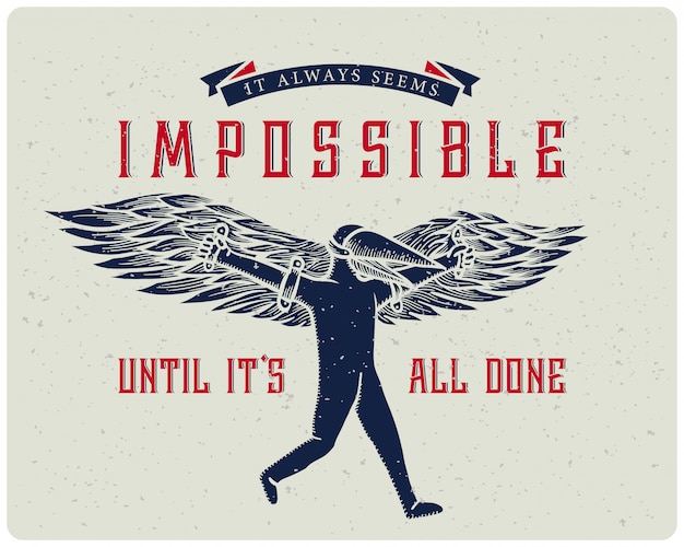 Motivationele poster met vliegende man illustratie