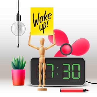 Motivationele poster. wakker worden! werkruimte met digitale wekker,