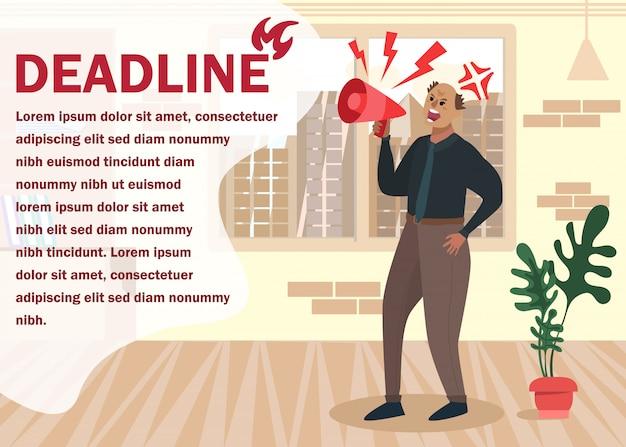 Motiveer banner met angry boss kondig deadline aan