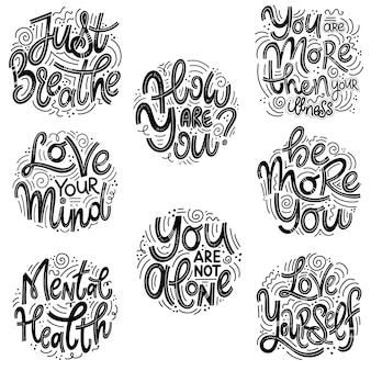 Motiverende en inspirerende citaten sets voor mental health day. adem gewoon, hoe gaat het, je bent meer dan je ziekte, hou van je geest, je bent niet alleen, wees meer jezelf, hou van jezelf.