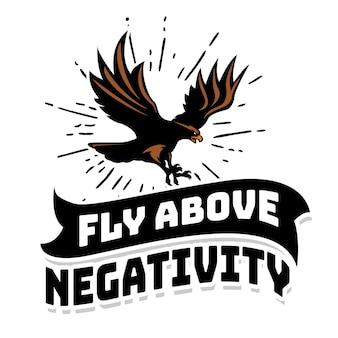Motiverende hand belettering typografie citaat met vliegende adelaar