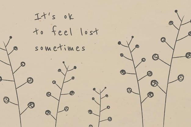 Motiverende quote met doodle plant voor social media post