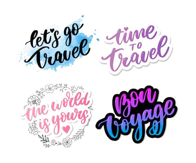 Motiverende typografie. tijd om te reizen en bon voyage belettering set