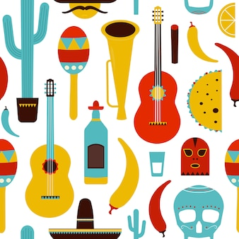 Motley mexico naadloos patroon met traditionele mexicaanse items