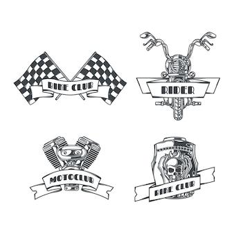 Motoclub set geïsoleerde zwart-wit emblemen met bewerkbare tekst en afbeeldingen van kettingen, wielen en helm