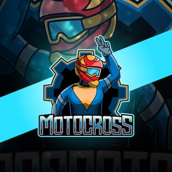 Motocross esport mascotte logo ontwerp