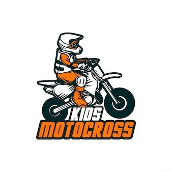 Motocross kinderen ontwerpen vector badge sticker patch logo