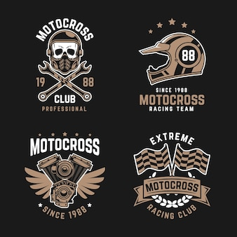 Motocross logo collectie sjabloon