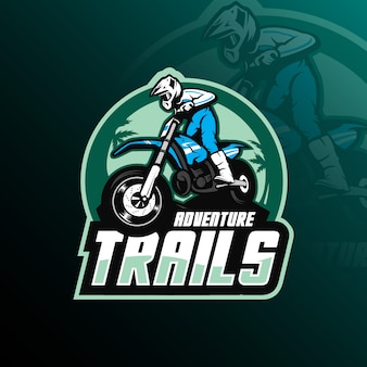 Motocross mascotte logo ontwerp vector met moderne illustratie
