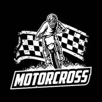 Motocross vector logo, motocross freestyle