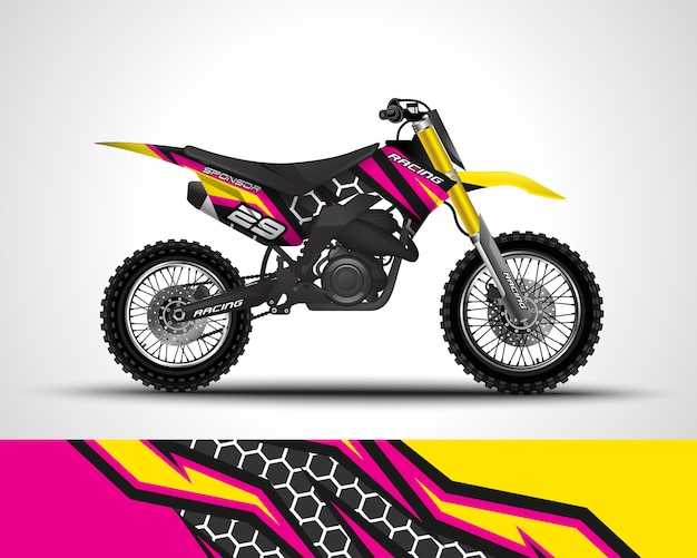 Motocross wrap sticker en vinyl sticker illustratie