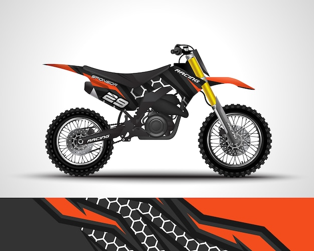 Motocross wrap sticker en vinyl sticker illustratie