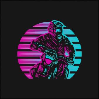 Motocross zonsondergang retro vectorillustratie