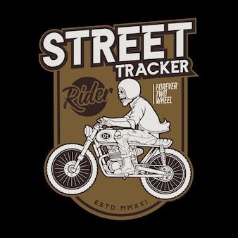 Motocycle straattracker tijdens de rit Premium Vector