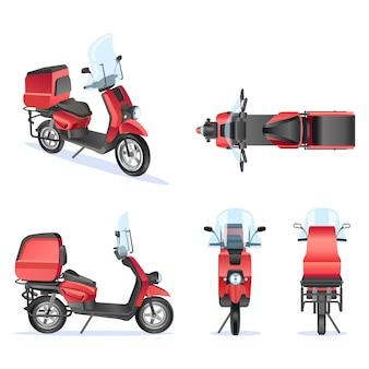 Motor 3d vector sjabloon voor bromfiets, motor branding en reclame. geïsoleerde motor die op witte achtergrond wordt geplaatst. uitzicht vanaf zijkant, voorkant, achterkant, bovenkant