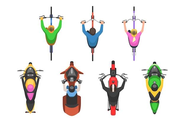 Motor- en fietsbestuurder met helm bovenaanzicht set. snelheidsvervoer voor sportmotorrace en gezond vervoersvoertuig voor vrijetijdsactiviteit vectorillustratie die op witte achtergrond wordt geïsoleerd