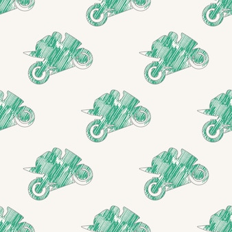 Motor en fietsers man patroon illustratie. creatieve en sportieve afbeelding