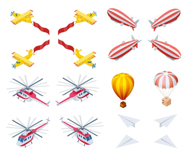 Motor en lichtere luchtvliegtuigen isometrische vector