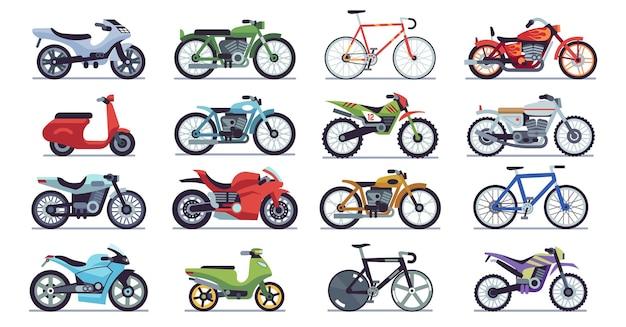 Motor en scooter set. fietsen en helikopters, snelheidsrace en levering retro en moderne bergvoertuigen reizen en sport platte geïsoleerde vector motor transport detail pictogram collectie