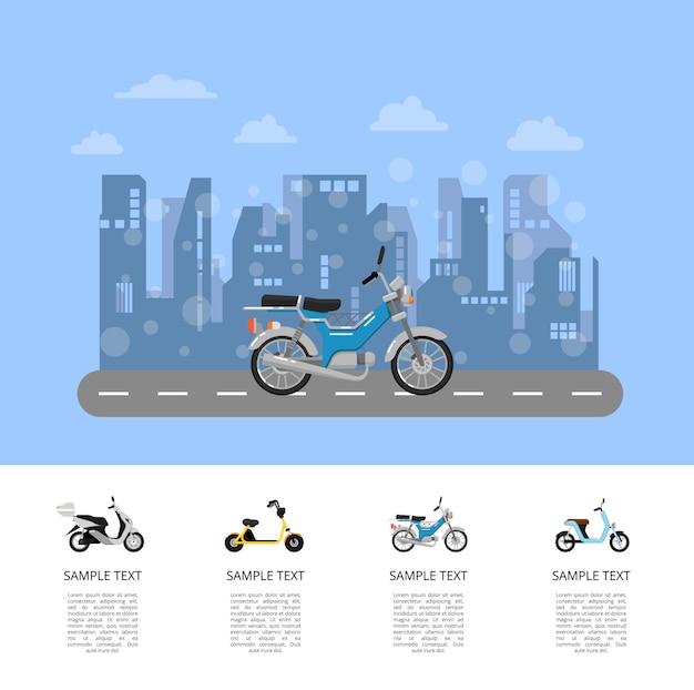Motor scooter op weg poster in vlakke stijl