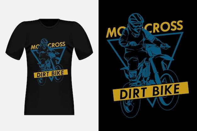 Motorcross avontuur crossmotor silhouet vintage t-shirt ontwerp