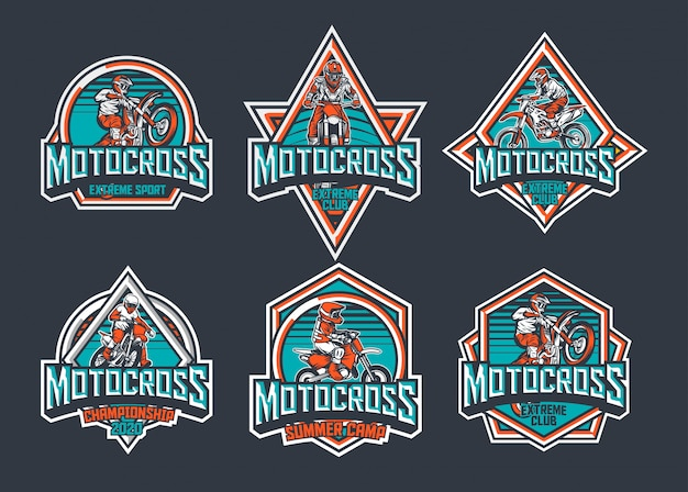 Motorcross premium vintage badge logo label ontwerp sjabloon pack teal rood
