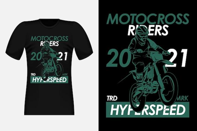 Motorcross rijders hyper snelheid silhouet vintage t-shirt ontwerp
