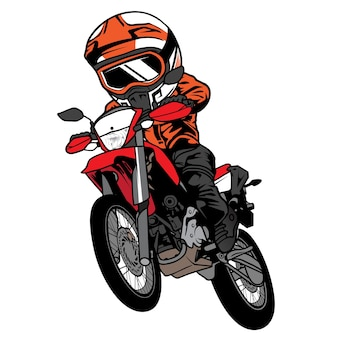 Motorcross springen met motorcartoon