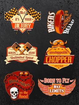 Motorfiets badges set