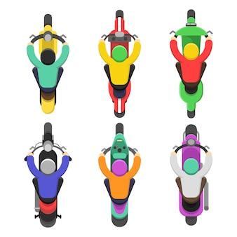 Motorfiets bovenaanzicht. bovenste laagje van motor met chauffeurs verkeer vector platte illustraties