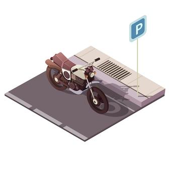 Motorfiets die isometrisch concept met de vectorillustratie van stadsverkeerssymbolen parkeren
