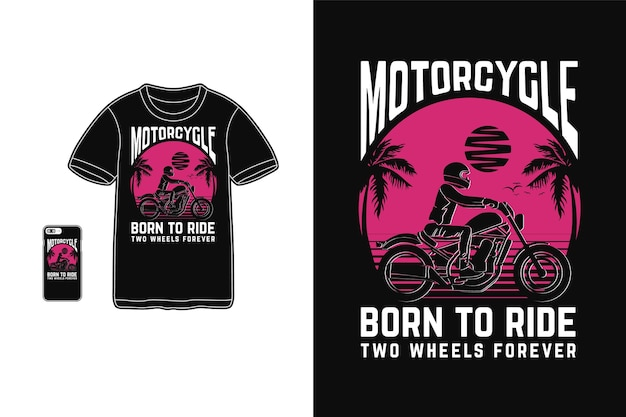 Motorfiets geboren om ontwerp voor t-shirt silhouet retro stijl te rijden