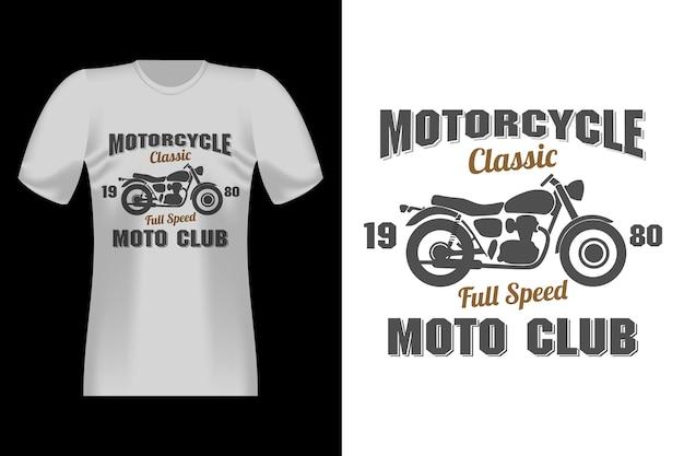 Motorfiets klassieke fiets heren met silhouet vintage retro t-shirt design