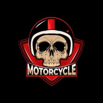 Motorfiets logo met schedel. premium.