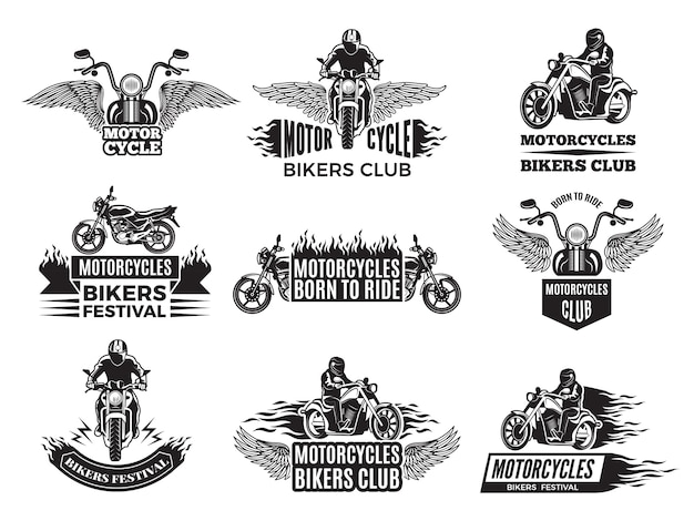 Motorfiets. logo's voor fietsenclub