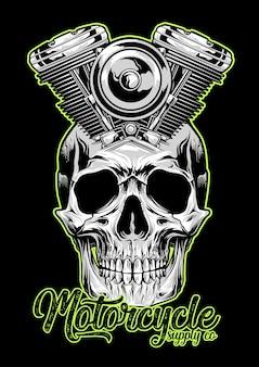 Motorfiets machine schedel embleem