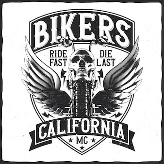 Motorfiets met schedel en vleugels