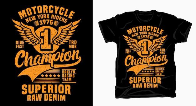 Motorfiets new york kampioen typografieontwerp voor t-shirt
