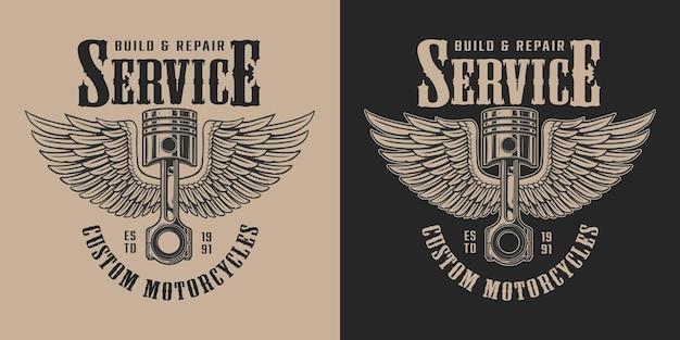 Motorfiets reparatie service vintage label met inscripties en gevleugelde zuiger in zwart-wit stijl