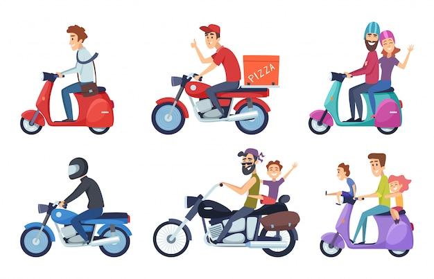 Motorfiets rijden. man rijdt met vrouw en kinderen post voedsel pizza leveren vector tekens cartoon