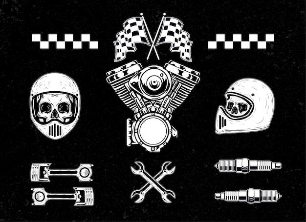 Motorfiets set pack illustratie
