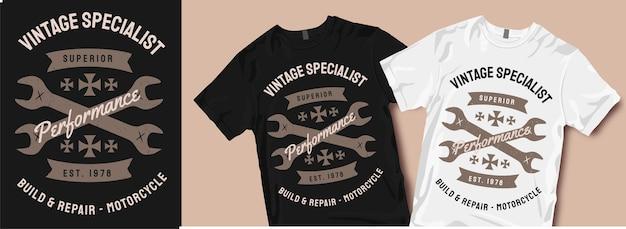 Motorfiets t-shirt ontwerpen. vintage specialist, bouwen en repareren.